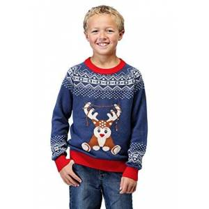 Fun Costumes Kids Light Up Reindeer Christmas Sweater Funny Ugly Christmas Sweaters for Boys Medium