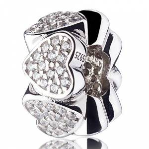 ATHENAIE 925SilverPlatedPlatinumwithPaveClearCZ Heart to Heart Spacer Silver Charms Bead