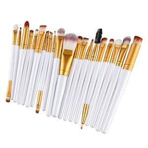 SM SunniMix 20 Piezas Cepillo de Maquillaje Brocha de Cosméticos Pincel para Corrector de Base, Cejas, Labios Oro blanco
