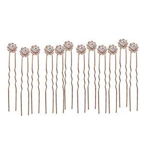 non-brand Fenteer Horquillas Para El Cabello, Pinzas Para El Cabello, Pinzas Para El Cabello Con Diseño De Flores De Diamantes De Imitación Oro rosa, 8cm
