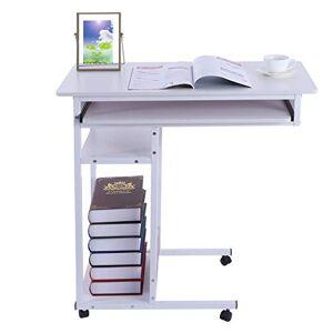 Mosunx Mesita de noche con ruedas, mesa auxiliar de 4 niveles, computadora móvil para computadora portátil, soporte para carrito de desayuno, mesa médica o para el hogar, 15, Blanco, 31.5 x 15.7 x 28.7 inches