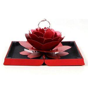ZBHSJ Caja De Anillo De Compromiso, 3D Pop Up Rose Anillo Titular, Caja De Anillo De Boda, Impresionante Regalo De Joyería para La Propuesta, Boda (Rojo),Red