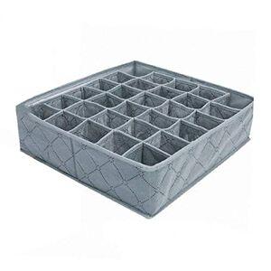 Dalkeyie 30 Celdas Plegables de bambú Ropa Interior de carbón Calcetines cajón Organizador Caja de Almacenamiento de Polipropileno no Tejido Caja separada 11L (Gris)