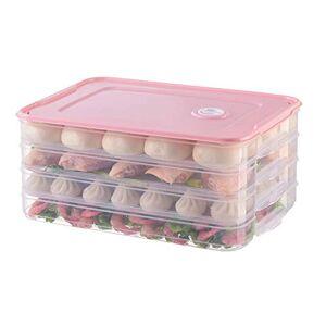 Flykee Bandeja de conservación de Alimentos para refrigerador con Tapa para refrigerador y congelador, Rosado, 4 Layers