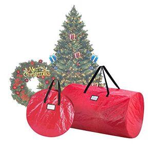 Elf Stor 1016 Combo de árbol de Navidad en Rojo 9 pies Artificial árboles y 30 Pulgadas Corona Bolsa de Almacenamiento, 30 Pulgadas Bolsa y 9 pies Bolsa
