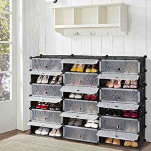 LANGRIA 18-Cube DIY Shoe Rack, Storage Drawer Unit Multi Use Modular Organizer Plastic Cabinet with Doors, Black and White Curly Pattern