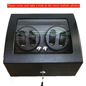 JIANBOX Luxury Leather Premium automática rotación Reloj Winder Glass Display Caja de Reloj 4 + 6, Black