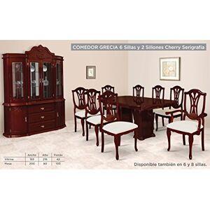HOME DESIGN Comedor Modelo Grecia 8 Sillas/Buffet y Vitrina Cherry