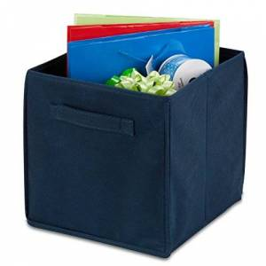Honey-Can-Do SFT-01218 Soft and Foldable Storage Bin Organizers, 10.6 by 10.6-Inch, Navy Blue