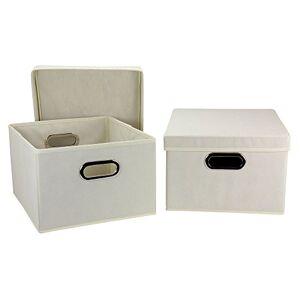 Household Essentials Cajas de Almacenamiento con Tapas y Asas, de Tela, Natural, 1
