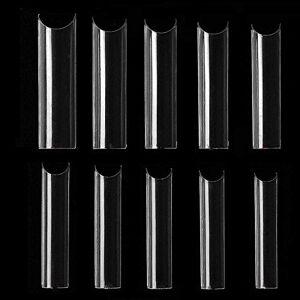 XLX-FDC Puntas de uñas Uñas postizas Naturales, 500 Piezas Extralarga C Curva cónica Cuadrada Puntas postizas Cubren la Mitad de Las uñas para Salones de uñas y Arte de uñas DIY