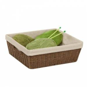 Honey-Can-Do STO-03564 Parchment Cord Basket with Handles and Liner, 13 by 15 by 5-Inch