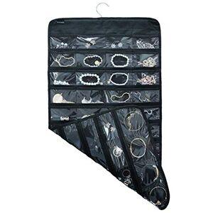 TabEnter Organizador de doble cara para colgar joyas, soporte para herramientas pequeño con 80 bolsillos transparentes (negro)