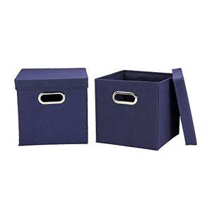 Household Essentials Café Juego de Cubos de Almacenamiento con Tapas y Asas, Marino, 1