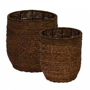 Household Essentials ML-4120 Juego de cestas redondas con borde de jacinto (2 piezas)