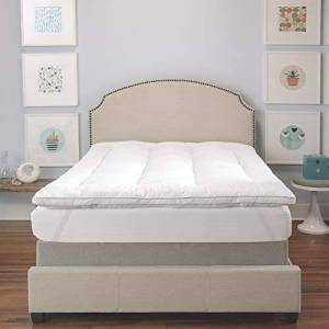 """BIOPEDIC Memory Plus Deluxe 3-"""" Memory Foam and Fiber Bed Topper with Anchorbands, Queen, White"""