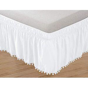 Elegant Comfort Funda elástica para Cama (Resistente a Las Arrugas, 40,6 cm), Moderno, Blanco, Individual/Matrimonial, 1