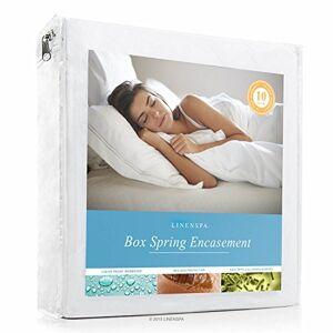 Linenspa Protector de Cama Impermeable a Prueba de Insectos Bloquea los líquidos, los Insectos de Cama, los ácaros del Polvo y los alérgenos Doble XL