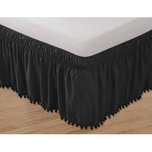 Elegant Comfort Falda de Cama con Flecos y Nudo Superior con Flecos para Cama de Matrimonio (elástica, Resistente a Las Arrugas, 40,6 cm), Color Negro