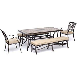 Hanover MONDN5PCBN-BLU Juego de Comedor con 2 sillas de Comedor, 2 Bancos Acolchados y una Mesa de Azulejos (5 Piezas), Bronceado