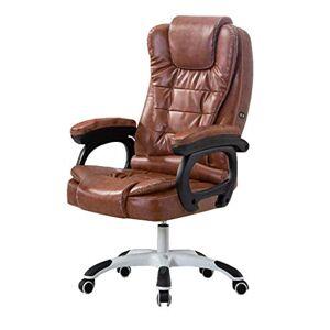 WXF Silla Giratoria de Oficina Ejecutiva, Respaldo Alto Seat de Función Inclinación de La Cintura Silla Ergonómica Ordenador Personal PU Acolchado de Cuero (Color : Brown)