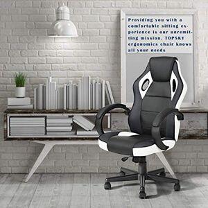 Homy Lin Silla Gamer Ergonómica Silla Racing Gaming Silla de Oficina para Computadora Silla de Trabajo Giratoria Ajustable (Blanco)