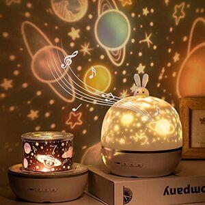 AVEKI Proyector de luces de noche con música, recargable, rotación de 360, proyector de luz de dibujos animados, 6 juegos de películas de 3 colores, luces LED nocturnas para recámara de niños, fiesta, cumpleaños, decoración de Navidad (caja de música)