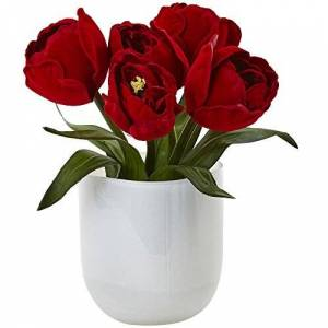 Nearly Natural Tulips with Glass Vase, White