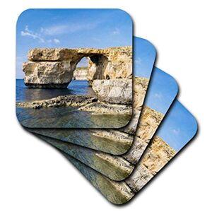 3dRose Azure Window, un Arco Natural icónico en la Costa de Gozo, Malta. Posavasos Blandos, Juego de 4 (CST_209908_1)