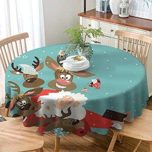 DILITECK Mantel de Navidad Impermeable con Parte Trasera Redonda, diseño de Papá Noel con Cara Divertida y Renos tontos, Multicolor, Color_01, Diameter 50 Inch, 1