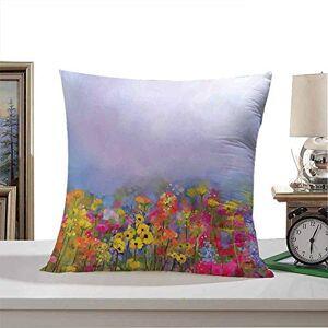 Aurauiora dsdsgog Juego de funda de almohada con diseño de flores y tulipanes florecientes con hojas verdes en el jardín botánico con efecto de pintura, multicolor, 45,7 x 45,7 cm, varios patrones de moda impresos