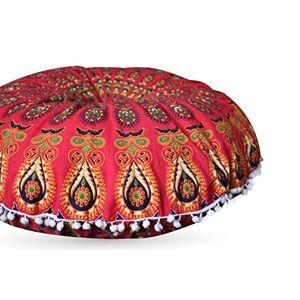 Third Eye Export Funda redonda de cojín de piso, para meditación, diseño de mandala barmeri, con zíper, decorativa, estilo hippie, bohemia, grande, de 81.28 cm, Red Cover Only, 81 cm