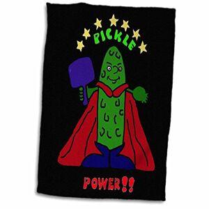 "3dRose Funny Pickleball Super Hero Cartoon Pickle Twl 200108Toalla de 1, 15"" x 22"