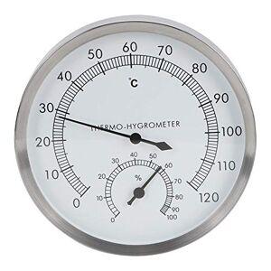 Qioni Termómetro para Interiores, higrómetro para Sala de Vapor de Acero Inoxidable 2 en 1 Termómetro para Sala de Sauna 10  C a 120  C Medidor de Humedad del higrómetro 0% a 100% Termo-higrómetro