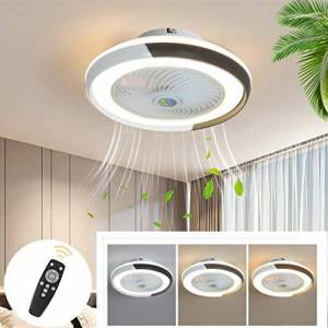 DLGGO Techo moderno ventilador con LED de iluminación, ventiladores de techo con lámparas regulables con mando a distancia, tranquilo ventilador inteligente ventiladores de techo invisible for sala de