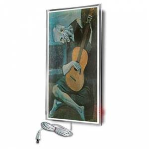 CalorSolar CERATI CalorSolar 024CaSol   Calefactor de Panel infrarrojo en Cristal para Pared, California Wave Viejo con Guitarra de 380W 60x90cm (Temático)   Marco metálico con Cristal Templado Impreso