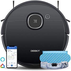 ECOVACS DEEBOT OZMO 920 Aspiradora robótica 2 en 1 con navegación láser, Zonas de exclusión, Limpieza sistemática, mapeo multipiso, Funciona con Alexa y aplicación, Grande, Negro