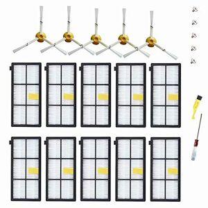 MZY LLC Piezas de repuesto para robot Roomba 800 900 Series 880 870 871 860 890 960 980, 10 filtros, 5 cepillos laterales, 1 cepillo de limpieza y 1 destornillador