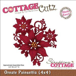 CottageCutz 4X4423 Troqueles Cortados, 4 por 4 Pulgadas, Adornado Poinsettia Hecho fácil