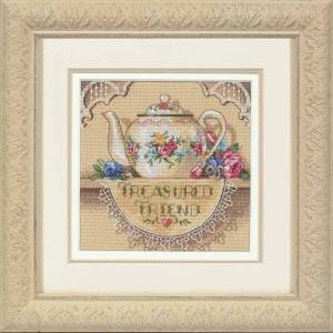Dimensions Needlecrafts Gold Petite Counted Cross Stitch, Treasured Friend Teapot