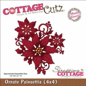 CottageCutz 4X4423 Troquelados, 4 x 4 pulgadas, Poinsettia ornamentada fácil