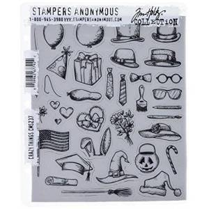 "Stampers Anonymous Tim Holtz Cling Rubber Stamp Set, 7"" by 8.5"", Crazy Things"