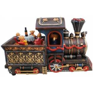 Musicbox Kingdom 14202 Locomotive with Bear Music Box Caja de música, diseño de Chattanooga Choo Choo