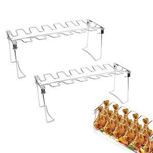 TAIYANYU Roasted Chicken Rack Holder Chicken Leg Wing Grill Rack Stainless Steel Roaster Stand (Rack,2pcs)