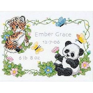 Dimensions Needlecrafts Stamped Cross Stitch, Baby Animals Birth Record