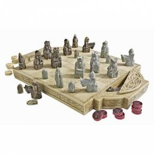 Design Toscano Isle of Lewis Juego de ajedrez con Caja de cartón, 43 cm, polirresina, Color Marfil