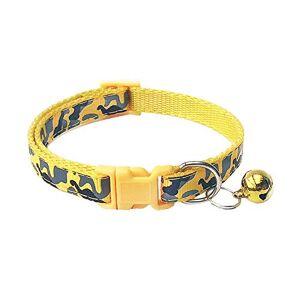 ZYYC 0.4/0.6Collar de Perro pequeño Chihuahua Yorkies Collar de Cachorro de Nailon Lindo Lazo de Gato Collar con Campana Collar de Mascota para Perros Camo Amarillo_1.0x20-34cm