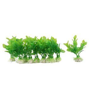 DealMux Ornamento de la planta de agua de plástico  acuario artificial de 8 cm Altura 10 piezas Verde