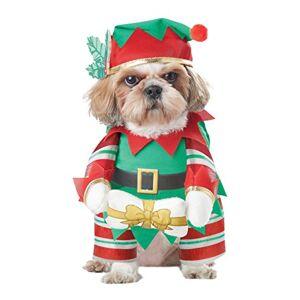 CALIFORNIA COSTUME COLLECTIONS Disfraz para Perro de Color Verde y Rojo, Disfraz de Elfo para Perro, Verde/Rojo, Mediano