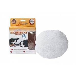 PetZu Mother's Comfort Heartbeat Pet Pillow, Chocolate/White